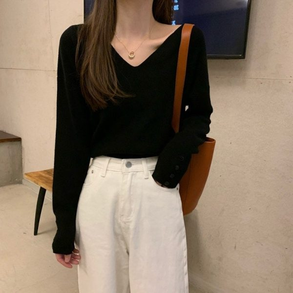Autumn V-neck Soft Sweatshirt 2 - My Sweet Outfit - EGirl Outfits - Soft Girl Clothes Aesthetic - Grunge Fashion Tumblr Hip Emo Rap Trap