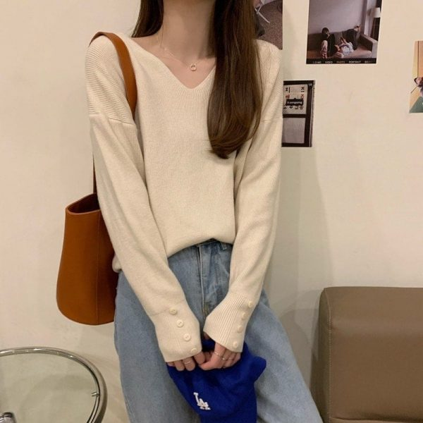 Autumn V-neck Soft Sweatshirt 3 - My Sweet Outfit - EGirl Outfits - Soft Girl Clothes Aesthetic - Grunge Fashion Tumblr Hip Emo Rap Trap