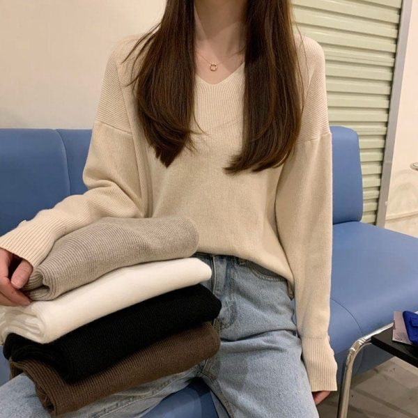 Autumn V-neck Soft Sweatshirt 4 - My Sweet Outfit - EGirl Outfits - Soft Girl Clothes Aesthetic - Grunge Fashion Tumblr Hip Emo Rap Trap