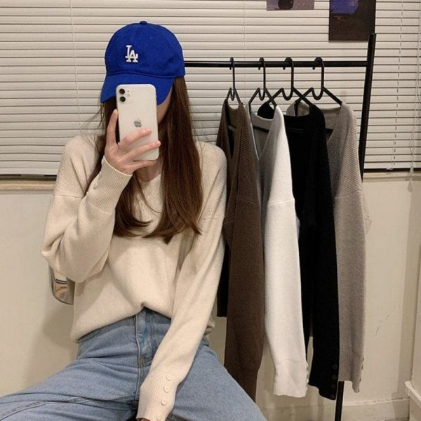 Autumn V-neck Soft Sweatshirt 5 - My Sweet Outfit - EGirl Outfits - Soft Girl Clothes Aesthetic - Grunge Fashion Tumblr Hip Emo Rap Trap