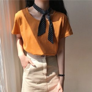 Basic Round Neck Short Sleeve T-shirt 3 - My Sweet Outfit - EGirl Outfits - Soft Girl Clothes Aesthetic - Grunge Fashion Tumblr Hip Emo Rap Trap