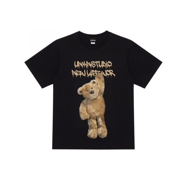 Bear Print Round Neck Street T-shirt 1 - My Sweet Outfit - EGirl Outfits - Soft Girl Clothes Aesthetic - Grunge Fashion Grime Hip Emo Rap Trap