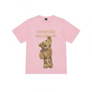 Bear Print Round Neck Street T-shirt 3 - My Sweet Outfit - EGirl Outfits - Soft Girl Clothes Aesthetic - Grunge Fashion Grime Hip Emo Rap Trap