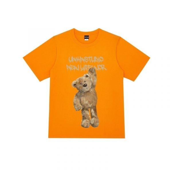 Bear Print Round Neck Street T-shirt 4 - My Sweet Outfit - EGirl Outfits - Soft Girl Clothes Aesthetic - Grunge Fashion Grime Hip Emo Rap Trap