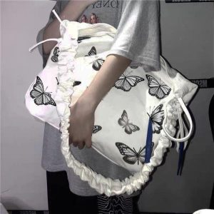 Beautiful Crumpled Bag With Butterflies 1 - My Sweet Outfit - EGirl Outfits - Soft Girl Clothes Aesthetic