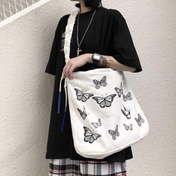 Beautiful Crumpled Bag With Butterflies 3 - My Sweet Outfit - EGirl Outfits - Soft Girl Clothes Aesthetic