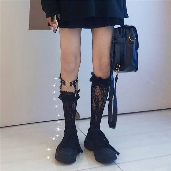 Beautiful Lace Stockings With Love Garters 2 - My Sweet Outfit - EGirl Outfits - Soft Girl Clothes Aesthetic - Grunge Fashion Grime Hip Emo Rap Trap