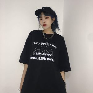 Biohazard Reflective Letter Printing T-Shirt 2 - My Sweet Outfit - EGirl Outfits - Soft Girl Clothes Aesthetic - Grunge Fashion Tumblr Hip Emo Rap Trap