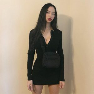 Black Button Hot Slim Dress 4 - My Sweet Outfit - EGirl Outfits - Soft Girl Clothes Aesthetic - Grunge Fashion Tumblr Hip Emo Rap Trap