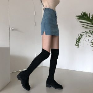 Black Corduroy Split Slim Skirt 3 - My Sweet Outfit - EGirl Outfits - Soft Girl Clothes Aesthetic - Grunge Fashion Tumblr Hip Emo Trap