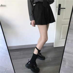 Black Cotton Suspenders Socks 2 - My Sweet Outfit - EGirl Outfits - Soft Girl Clothes Aesthetic