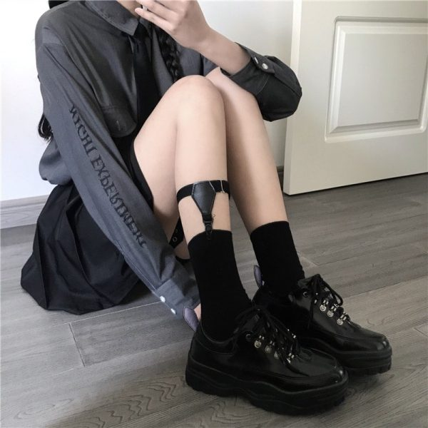 Black Cotton Suspenders Socks 3 - My Sweet Outfit - EGirl Outfits - Soft Girl Clothes Aesthetic
