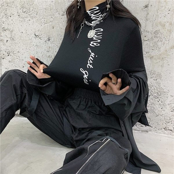 Black High Collar Letter Printing Slim Sweatshirt 1 - My Sweet Outfit - EGirl Outfits - Soft Girl Clothes Aesthetic - Grunge Fashion Tumblr Hip Emo Rap Trap