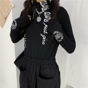 Black High Collar Letter Printing Slim Sweatshirt 2 - My Sweet Outfit - EGirl Outfits - Soft Girl Clothes Aesthetic - Grunge Fashion Tumblr Hip Emo Rap Trap