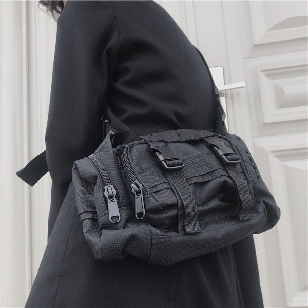 Black Multifunctional Messenger Bag 2 - My Sweet Outfit - EGirl Outfits - Soft Girl Clothes Aesthetic