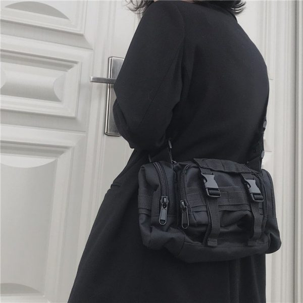Black Multifunctional Messenger Bag 3 - My Sweet Outfit - EGirl Outfits - Soft Girl Clothes Aesthetic