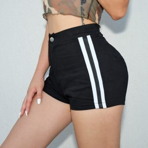 Black Striped High Waist Shorts 1 - My Sweet Outfit - EGirl Outfits - Soft Girl Clothes Aesthetic - Grunge Fashion Tumblr Hip Emo Rap Trap