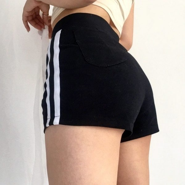 Black Striped High Waist Shorts 2 - My Sweet Outfit - EGirl Outfits - Soft Girl Clothes Aesthetic - Grunge Fashion Tumblr Hip Emo Rap Trap