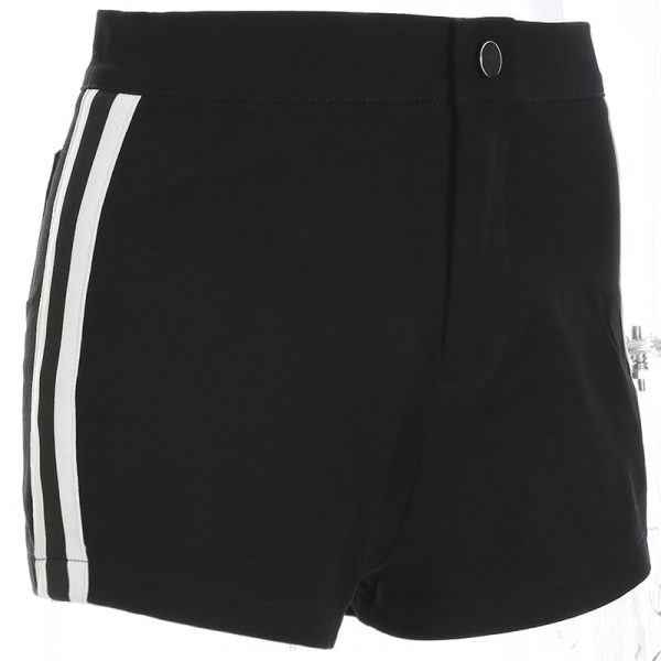 Black Striped High Waist Shorts 5 - My Sweet Outfit - EGirl Outfits - Soft Girl Clothes Aesthetic - Grunge Fashion Tumblr Hip Emo Rap Trap