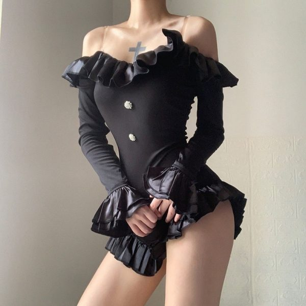 Black Wild Long-Sleeved Bodysuit 3 - My Sweet Outfit - EGirl Outfits - Soft Girl Clothes Aesthetic