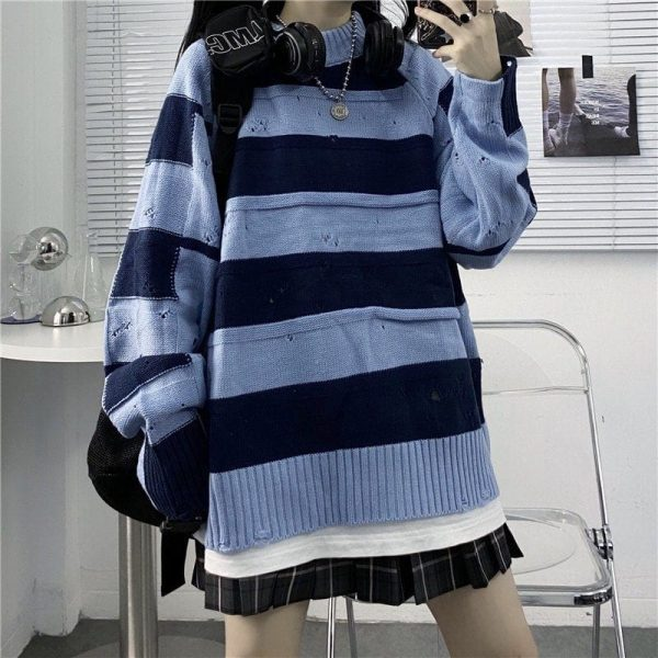 Blue And Black Striped Torn Sweater 1 - My Sweet Outfit - EGirl Outfits - Soft Girl Clothes Aesthetic - Grunge Fashion Tumblr Hip Emo Rap Trap