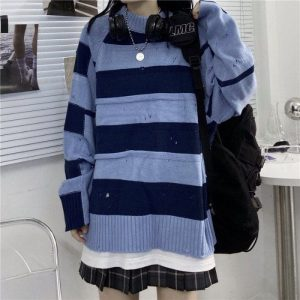 Blue And Black Striped Torn Sweater 3 - My Sweet Outfit - EGirl Outfits - Soft Girl Clothes Aesthetic - Grunge Fashion Tumblr Hip Emo Rap Trap