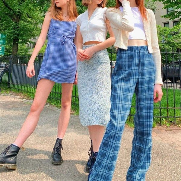 Blue Plaid Straight Leg Pants 1 - My Sweet Outfit - EGirl Outfits - Soft Girl Clothes Aesthetic - Grunge Fashion Tumblr Hip Emo Trap