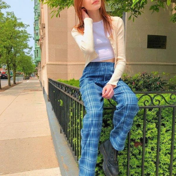 Blue Plaid Straight Leg Pants 2 - My Sweet Outfit - EGirl Outfits - Soft Girl Clothes Aesthetic - Grunge Fashion Tumblr Hip Emo Trap