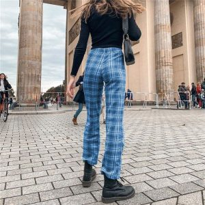 Blue Plaid Straight Leg Pants 4 - My Sweet Outfit - EGirl Outfits - Soft Girl Clothes Aesthetic - Grunge Fashion Tumblr Hip Emo Trap