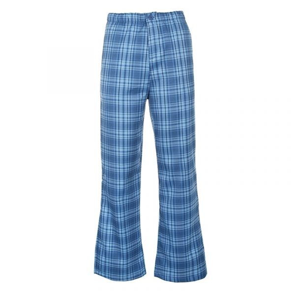 Blue Plaid Straight Leg Pants 5 - My Sweet Outfit - EGirl Outfits - Soft Girl Clothes Aesthetic - Grunge Fashion Tumblr Hip Emo Trap