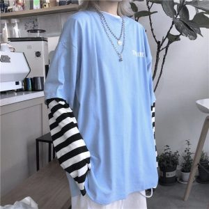 Blue Stripe Sleeve Fake Two Piece T-shirt 2 - My Sweet Outfit - EGirl Outfits - Soft Girl Clothes Aesthetic - Grunge Fashion Tumblr Hip Emo Rap Trap