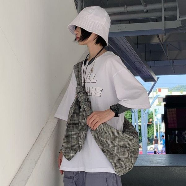 Casual Check Knotted Shoulder Backpack 2 - My Sweet Outfit - EGirl Outfits - Soft Girl Clothes Aesthetic
