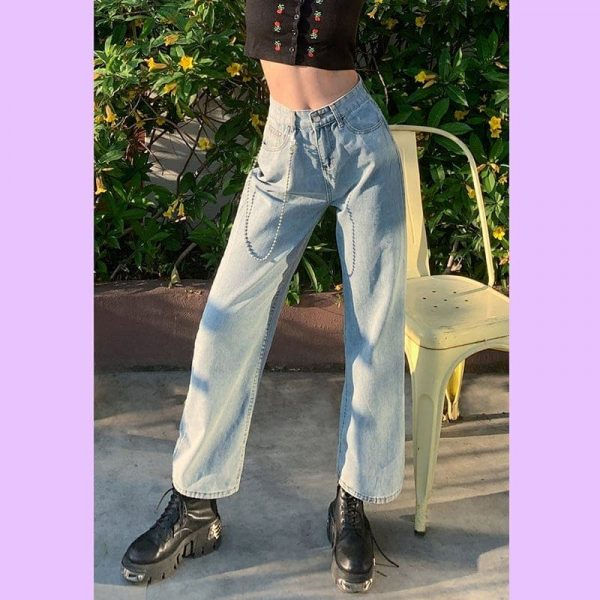 Casual Jeans Wide Denim Trousers 1 - My Sweet Outfit - EGirl Outfits - Soft Girl Clothes Aesthetic
