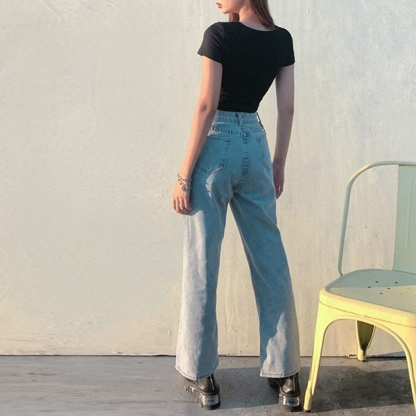 Casual Jeans Wide Denim Trousers 4 - My Sweet Outfit - EGirl Outfits - Soft Girl Clothes Aesthetic