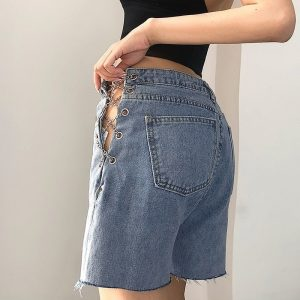 Chain Denim Summer Shorts 1 - My Sweet Outfit - EGirl Outfits - Soft Girl Clothes Aesthetic - Grunge Fashion Tumblr Hip Emo Rap Trap