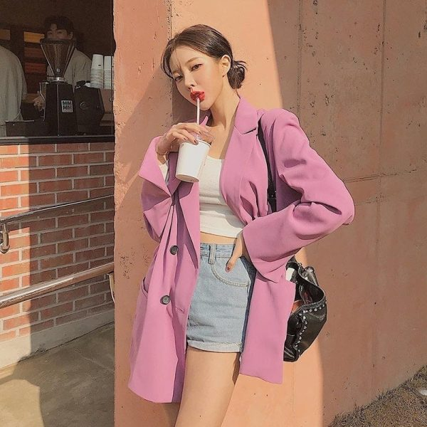 Chic Casual Pink Loose Suit Jacket 3 - My Sweet Outfit - EGirl Outfits - Soft Girl Clothes Aesthetic - Grunge Fashion Tumblr Hip Emo Rap Trap