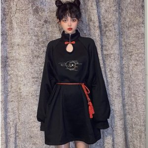Chinese Style Bow Tie Garter Dress 1 - My Sweet Outfit - EGirl Outfits - Soft Girl Clothes Aesthetic