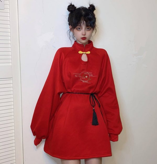 Chinese Style Bow Tie Garter Dress 3 - My Sweet Outfit - EGirl Outfits - Soft Girl Clothes Aesthetic