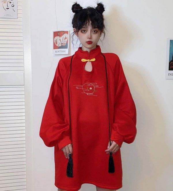 Chinese Style Bow Tie Garter Dress 4 - My Sweet Outfit - EGirl Outfits - Soft Girl Clothes Aesthetic