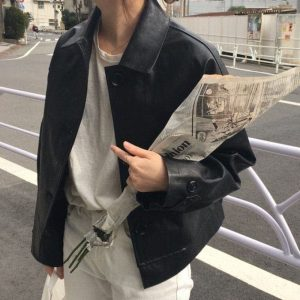 Classic Big Buttons Leather Short Coat 1 - My Sweet Outfit - EGirl Outfits - Soft Girl Clothes Aesthetic - Grunge Fashion Tumblr Hip Emo Rap Trap