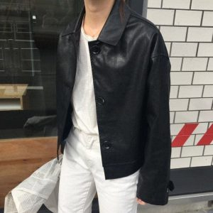 Classic Big Buttons Leather Short Coat 2 - My Sweet Outfit - EGirl Outfits - Soft Girl Clothes Aesthetic - Grunge Fashion Tumblr Hip Emo Rap Trap