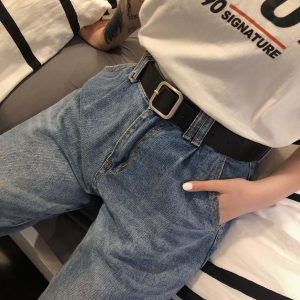 Classic Square Buckle Wide Belt 3 - My Sweet Outfit - EGirl Outfits - Soft Girl Clothes Aesthetic - Grunge Fashion Grime Hip Emo Rap Trap