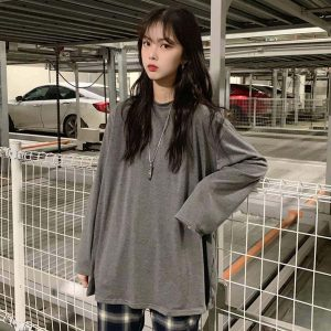 Classic Thin Long Sleeve T-shirt 1 - My Sweet Outfit - EGirl Outfits - Soft Girl Clothes Aesthetic - Grunge Fashion Tumblr Hip Emo Rap Trap