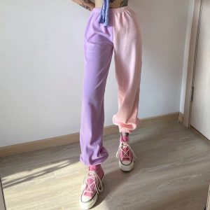 Contrast Color Casual Loose Pants 2 - My Sweet Outfit - EGirl Outfits - Soft Girl Clothes Aesthetic - Grunge Fashion Grime Hip Emo Rap Trap