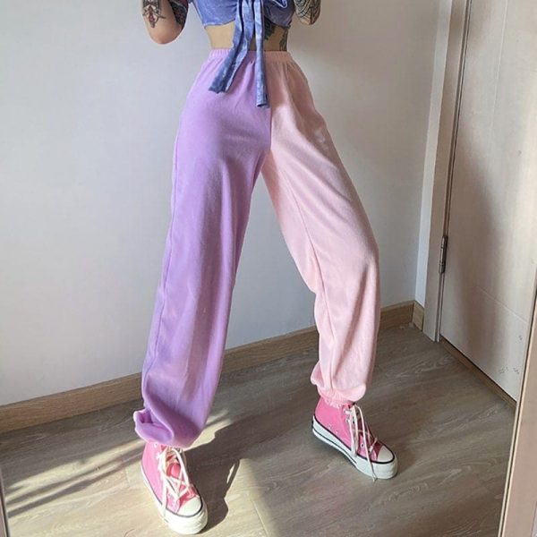 Contrast Color Casual Loose Pants 3 - My Sweet Outfit - EGirl Outfits - Soft Girl Clothes Aesthetic - Grunge Fashion Grime Hip Emo Rap Trap