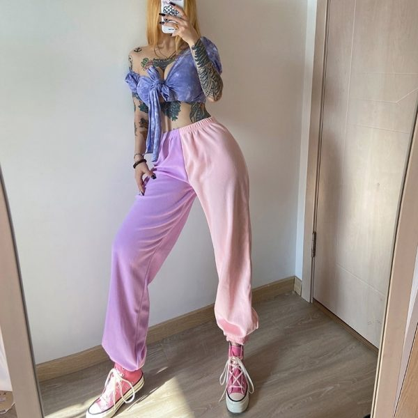 Contrast Color Casual Loose Pants 4 - My Sweet Outfit - EGirl Outfits - Soft Girl Clothes Aesthetic - Grunge Fashion Grime Hip Emo Rap Trap