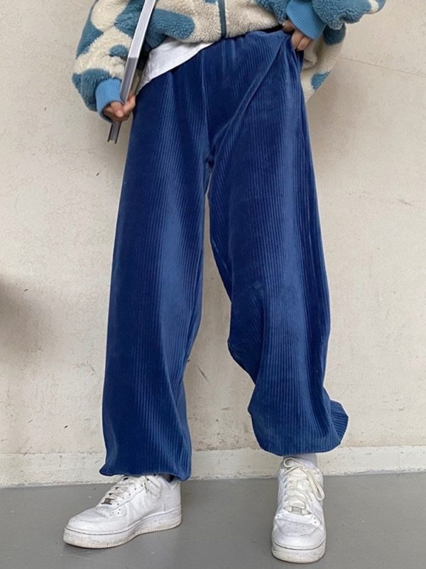 Corduroy Thickened Harem Trousers 4 - My Sweet Outfit - EGirl Outfits - Soft Girl Clothes Aesthetic - Grunge Fashion Tumblr Hip Emo Rap Trap