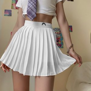 Crescent Print White Pleated Skirt 1 - My Sweet Outfit - EGirl Outfits - Soft Girl Clothes Aesthetic