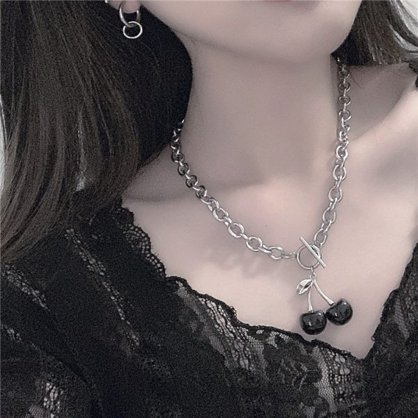 Dark Goth Cherry Necklace 1 - My Sweet Outfit - EGirl Outfits - Soft Girl Clothes Aesthetic - Grunge Fashion Grime Hip Emo Rap Trap