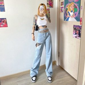 Detachable Belt Loose Fit Ripped Jeans 1 - My Sweet Outfit - EGirl Outfits - Soft Girl Clothes Aesthetic - Grunge Fashion Tumblr Hip Emo Trap